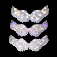 Party Decoration Women Girls LED Glow Light Up Angel Feather Wing Costume Birthday Gift Props Show Home Wedding Wall Decor