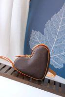 coeur 미니 심장 모양의 M45419 게임 달콤한 발렌타인 데이 어깨 가방 코팅 캔버스 양각 크로스 바디 저녁 핸드백 지갑 지갑