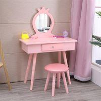 침실 가구 크리 에이 티브 노르딕 Fch 어린이 거울 단일 핑크색 서랍 라운드 발 드레서 소녀 메이크업 테이블