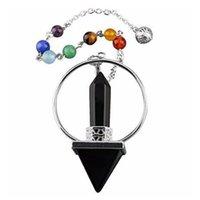 Anhänger 7 Chakra Perlen Kette Hexagon Prisma Magie Zauberstab Energie Turm Reiki Pendel Natürliche Edelstein Stein Charms Heilung Amulett Schmuck 294 T2