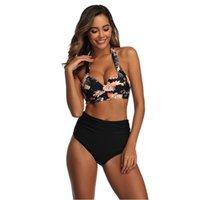 Tyburn Nouvelle taille haute Maillot de bain Bikinis Femmes Bandage Top push up maillot de bain maillot de bain costumes de bain de baignade plage porter biquini 210306