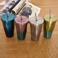 Water Bottles 500ML Travel Color Stainless Steel Cup With Straw Double Wall Vacuum Insulation Portable Leakproof
