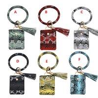 PU Card Bag Wallet Bracelet Keychain Pendant Leather Tassel Credit Card Holder Bracelet Pendant Bangle Wristlet Keyring Accessory DH4757