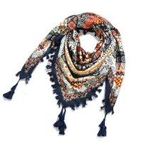 Scarves Bohemina Style National Square Scarf For Women Warm Winter Blanket Pashmina Shawl Tassel Ethnic Muffler Hijab Wraps