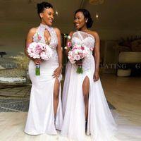 2021 فساتين العروسة الأفريقية نمط مختلط نمط مطرزة كريستال مطرز سبليت البلد شاطئ نيجيريا bellanaija خادمة تكريم الزفاف