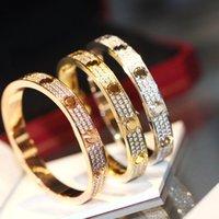 Logo роскошный теннисный браслет женщины из нержавеющей стали розовое золото пару алмазные 3 ряда мода ювелирные изделия в руке день святого Валентина подарок для подруги предложения