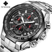 Neue WWOOR Hohe Qualität Sieben Nadel Mann Bewegung Abschnitt Stahl Bring Quarz Wasserdichte Armbanduhr Chronograph Uhren Wholesales Armbanduhren