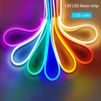 LED NEON Strip Strip 12V SMD 2835 Signe néon flexible IP68 étanche 120led / m 6x12mm Rope Lampe arc-en-ciel Decoration Neon Décoration