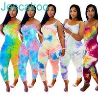 디자이너 여성 Jumpsuit 넥타이 염료 슬링 파자마 onesies 민소매 playsuits rompers 플러스 사이즈 바지 여성 의류 J325