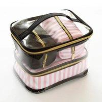 أكياس التجميل الحالات pvc العلامة التجارية شفافة حالة متعددة الوظائف السفر المنظم أدوات الزينة للنساء المشارب الوردي الإناث الجمال