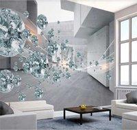 Fonds d'écran personnalisé papier peint mural 3D / 8D boule de cristal tridimensionnel abstrait space bâtiment briques mur-tours