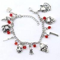 Charm Bracelets Chucky Face Stephen Kings IT Penny Wise Jason Hockey Horror Bracelet Designed For Ladies Halloween Jewelry Gifts