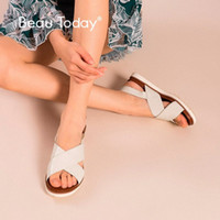 Beautiday Beach Sandals Donne Genuine Cow in pelle di mucca Cross Legato Top Quality Ladies Handmade Summer Scarpe casual da estate 32109 k4mu #