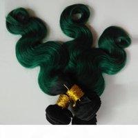 Brasilianische peruanische Körperwelle Haarwebart Bündel Jungfrau Menschliche Haarverlängerungen Zwei Ton 1b Grün Omber 8-26inch Sexy Indianer Remy Hair Weave
