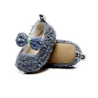 First Walkers Autumn Baby Girl Princess Shoes Infant Bowknot Cotton Boots Soft Sole Born Toddler