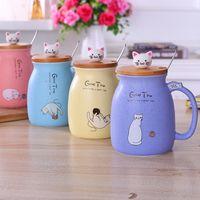 Tazze da caffè tazze di ceramica gatto con cucchiaio coperchio dei cartoni animati ragazze moda latte tazza resistente al calore studente bevanda ware 4 colori all'ingrosso wll320