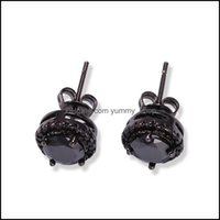 Jewelrymens Hip Hop Stud Earrings Jewelry Fashion Black Sier Simated Diamond Round Earring For Men Drop Delivery 2021 L4Glw