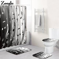 Bath Mats Musical Note Print Mat And Shower Curtain Set In The Bathroom HomeDecor Tolilet Carpet AntiSlip Waterproof Foot Rug