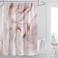 Mermer Desen Duş Perdesi 180 cm Polyester Kumaş Su Geçirmez Banyo Dekorasyon 3D Baskılı Banyo Perdesi Yüzük