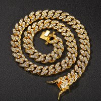 Mens Gold Miami Cuban Link Chains Fashion Hip Hop Iced Out Chain Hiphop Necklace Jewelry 12mm