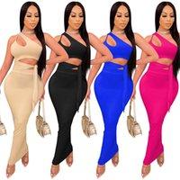 Kadınlar Seksi İki Parçalı Elbiseler Katı Renk Maxi Etekler Takım Elbise Kapalı Omuz Tank Üst + Uzun Etek Moda Clubwear Artı Boyutu Yaz Giyim 4639