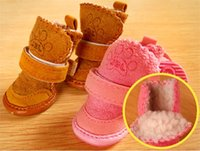 4pcs set Non-slip Shoes Dog Cotton Shoes Waterproof Warm Winter Dog Shoes Teddy Pet Thick Soft Bottom Snow Boots for Small Dog 26 S2