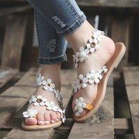 Femmes Bohême Sandales Chaussures Été Dames Appartements Chaussures Fleur Décoration Sandales Plaines Slip Sandal Chaussure Zapatos de Mujer Z39G #