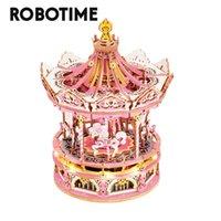 Robotime-3D Houten carrousel, educatieve spellen voor kinderen en volwassenen, 336 stuks roterende combinatiegames, muziekdoos, speelgoed
