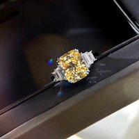 DIWENFU Genuine 925 Sterling Silver Topaz Ring Box for Women Fine Wedding Bands Engagement Anillos De Anel Jewelry Box Female