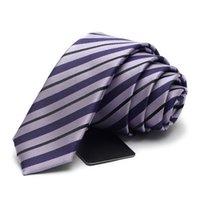 Высокое качество 2020 бренда 5см тонкий галстук мужчин и женщин шелковые фиолетовые полосатые галстуки выпускные работы партии свадебные повседневные связи 12