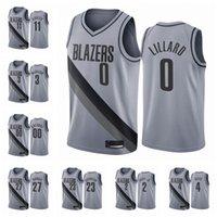 2020-21 ПортлендТащитьблейзерыМужчины Damian Lillard C.J. McCollum Carmelo Anthony Заработанное издание Серый # 0 Баскетбол Джерси