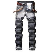 Jeans de Hommes 2021 Hommes de haute qualité Hommes Casual Casual Slim Plissé Briker Pantalon Mâle Denim Plus Taille 42