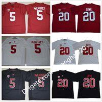 NCAA Stanford Cardinal # 20 Bryce Love Jersey White Red Home Away Stitched Mens # 5 Christian Mccaffrey كلية الفانيلة كرة القدم