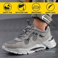 Men Work Safety Shoes Steel Toe Head Anti-puncture Anti-Stabbing Wearable Breathable Light Soft Sneakers Boots Construction