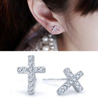 Stud Silver Color Fashion Jewelry For Women Wholesale Punk Style Gift Cubic Zirconia Cross Drop Dangle Crystal Earrings