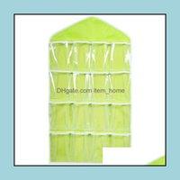 Almacenamiento Housekee Organización Inicio GardenStorage Bolsas 16Pockets Borrar bolso colgante Calcetines Sujetador Ropa interior Rack Hanger Organizador GN Drop Delive
