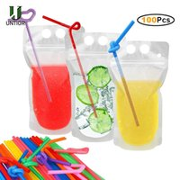 Borrar tazas Bolsas de bebidas mágicas con shaga Resellable Batido de hielo Bolsos de beber pajitas Paja de jugo reutilizable Cy27