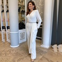 Weißer Overall Neue 2021 Mutter der Braut Hose Anzüge V-Ausschnitt Kristall Gürtel Weddding Guest Oufit Langarm Maxi Kleid