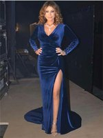 Long Sleeves Evening Dresses Sexy Side Split V Neck Sheath Royal Blue Stain Beaded Pushed Party Prom Gowns Sweep Train