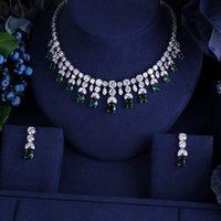 Janekelly الفاخرة إثارة الرائعة مكعب الزركون قطرة القرط قلادة العشاء الثقيلة مجوهرات SST الزفاف اللباس الزفاف الملحقات T200302