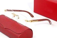 Män Rimless Trä Solglasögon Buffalo Hornglasögon Mode Frankrike Mens Optiska Glasögon Kvinnor Guld Trä Glasögon Ramar Lunettes de Soleil