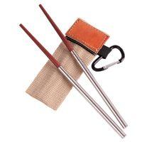Палочки для еды 1 пара деревянные из нержавеющей стали для путешествий Открытый кемпинг Пикник Складная выдвижная посуда для пикника