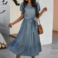 Casual Dresses Summer Fashion Long Dress Women Solid Color Elegant Ruffles Midi Bohemian Soft High Waist Lace Up Vestidos