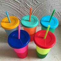 710 ملليلتر لون درجة الحرارة تغيير كوب بلاستيك بهلوان زجاجة مشروب الباردة مع القش وغطاء ماجيك كأس الصيف drinkware شحن مجاني 367 R2