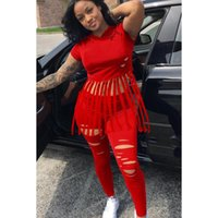 African Women Tracksuit Tights Sportswear Fitness Suit For Female Clothing Tassel Hooded Two Piece Short Sleeve Crop Top Africa