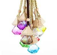 Essential Oils Diffusers Car Hanging Perfume Pendant Fragrance Air Freshener Empty Glass Bottle For Diffuser Automobiles Ornaments 9 Colors WJRI