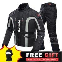 Jaquetas de corrida Duhan Motocicleta jaqueta definir engrenagem protetora à prova de vento + calças terno protetor de quadril equitação moto