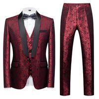 Men's Suits & Blazers 2021 Spring Autumn Casual Business Boutique Flower Suit Three-piece Set   Coat Jacket Pants Vest Trousers Waistcoat