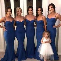 Royal Blue Bridesmaid Dresses 2022 Mermaid Floor Length Satin Spaghetti Straps Custom Made Plus Size Maid of Honor Gown Country Beach Wedding Party Wear vestidos