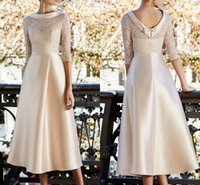 Champagne Mother of the Bride Dress 2022 Elegant Jewel Neck Tea Length Lace Satin Half Sleeve Formal Wedding Guest Gown